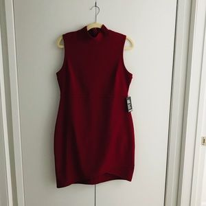 Red Ribbed Mock Neck Sheath Dress